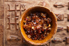 Gum arabic, also known as acacia gum - in bowl Stock Photo