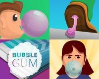 Gum banner set, cartoon style royalty free illustration