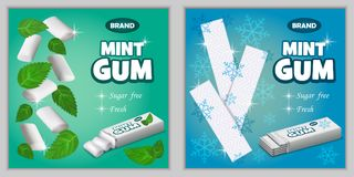 Gum chewing bubble banner set, realistic style. Gum chewing bubble banner set. Realistic illustration of 9 gum chewing bubble banner for web Stock Images