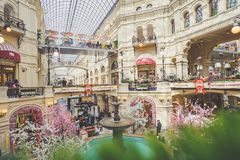 GUM department store, Moscow, Russia. MOSCOW, RUSSIA - MAY 10, 2017: Interior of the GUM department store Royalty Free Stock Photography