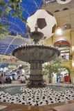Gum department store, the oldest shopping mall decorated by soccer balls for the World Cup. Moscow, RUSSIA - June 11, 2018: Gum department store, the oldest Stock Photography