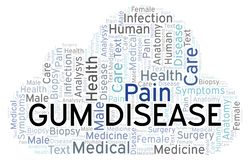 Gum Disease word cloud. Wordcloud made with text only stock illustration