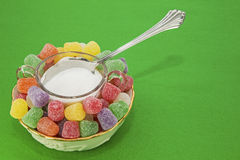 Gum drops sugar bowl spoon concept Stock Images