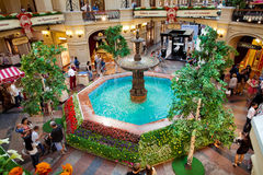 GUM fountain - russian main department store. Stock Images