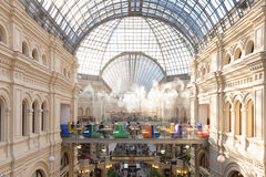 GUM Main Department Store, Moscow, Russia. Moscow, Russia - July 4: GUM Main Department Store on the Red Square interior during the summer evening on July 4 2015 Stock Photography