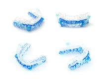 Gum shield. Medical mouthpiece on a white background. This mouthpiece helps to stop snoring Royalty Free Stock Images