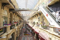 In gum shopping mall. Inside the historic gum shopping mall at moscow in russia stock images