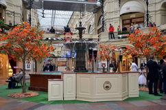 The GUM shopping mall interior in Moscow. Russia Stock Photo