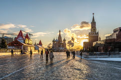 The GUM-skating Rink on Red square. Stock Photos