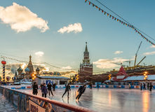 The GUM-skating Rink on Red square. Stock Images
