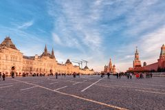 GUM, St. Basil`s Cathedral and Spasskaya Tower on Red Square in Moscow stock photography