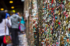 The Gum Wall. The Market Theater Gum Wall is a local landmark in downtown Seattle, in Post Alley under Pike Place Market. Similar to Bubblegum Alley in San Luis Royalty Free Stock Images