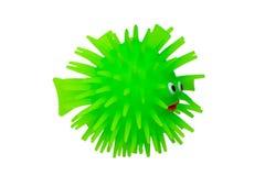 Gum zabawki Śmieszna zielona puffer ryba robić guma Śliczna zabawki ryba odizolowywająca na białym tle Makro- obraz stock