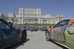 Gumball 3000. Bucharest, Romania, May 7, 2016: Super cars participating at the exclusivist rally Gumball 3000 from Dublin to Bucharest are presented in front of Royalty Free Stock Images