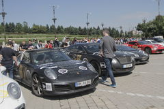Gumball 3000. Bucharest, Romania, May 7, 2016: Super cars participating at the exclusivist rally Gumball 3000 from Dublin to Bucharest are presented in front of Stock Photos