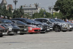 Gumball 3000. Bucharest, Romania, May 7, 2016: Super cars participating at the exclusivist rally Gumball 3000 from Dublin to Bucharest are presented in front of Royalty Free Stock Photos