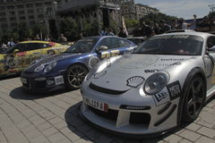 Gumball 3000. Bucharest, Romania, May 7, 2016: Super cars participating at the exclusivist rally Gumball 3000 from Dublin to Bucharest are presented in front of Stock Photography