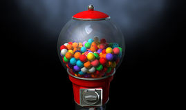 Gumball Dispensing Machine Dark. A regular red vintage gumball dispenser machine made of glass and reflective plastic with chrome trim filled with multicolored stock photography