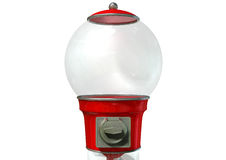 Gumball Dispensing Machine Empty. A regular empty red vintage gumball dispenser machine made of glass and reflective plastic with chrome trim on an white royalty free stock photos