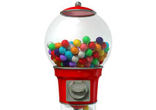 Gumball Dispensing Machine. A regular red vintage gumball dispenser machine made of glass and reflective plastic with chrome trim filled with multicolored royalty free stock photo