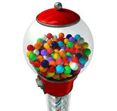 Gumball Dispensing Machine. A regular red vintage gumball dispenser machine made of glass and reflective plastic with chrome trim filled with multicolored royalty free stock image