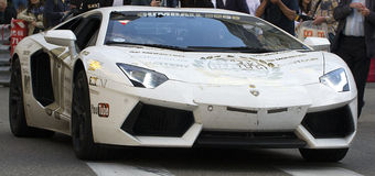 Gumball. A Gumball Lamborghini parks up at the Casino in Monte Carlo Royalty Free Stock Photo