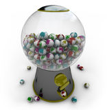 Gumball Machine Filled with Small Earths. A gumball machine is filled with small Earths of different colors Royalty Free Stock Photos