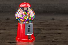Gumball machine, gum dispenser on the wooden background. 3D rend royalty free stock images