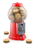 Gumball machine with hamburger Royalty Free Stock Photography