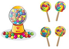 Gumball machine and Lollipop isolated Stock Photo
