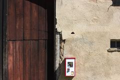 Gumball machine at rural countryside of south germany. On a nice sunny day in april stock photography