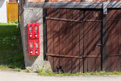 Gumball machine at rural countryside of south germany. On a nice sunny day in april royalty free stock photography