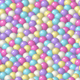 Gumball round candies seamless pattern. Colorful pattern with a lot of gumballs, mixed pastel colors. Seamless vector background. Bright game background with royalty free illustration