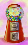 Gumball selling machine. Hand drawn pencil sketch of a machine selling gumballs, colored Stock Images