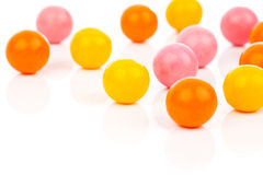 Gumballs. Colorful Gumballs over white background royalty free stock photo
