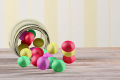 Gumballs. 3d rendering of some gumballs on a glass jar Stock Images