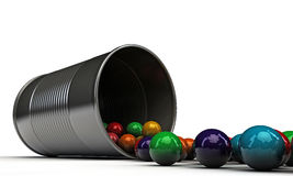 Gumballs in a metal can Royalty Free Stock Photo