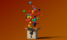 Gumballs in a mysterious box Royalty Free Stock Photography