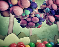 Gumballs trees. In old grunge photo Stock Images