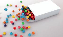 Gumballs in a white box_02. Gumballs in a white box  on white background Royalty Free Stock Photography