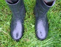 2 gumboots на траве Стоковые Изображения RF