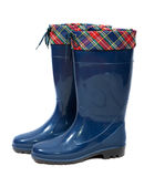 Gumboots. Blue waterproof gumboots on  white background with shadow Stock Image