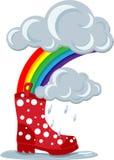 Gumboots & arcobaleno Fotografia Stock
