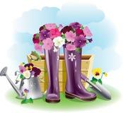 Gumboots e fiori Immagine Stock Libera da Diritti