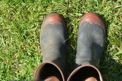 Gumboots Mans садовничая на зеленой траве Стоковые Изображения RF