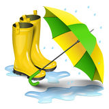 Gumboots and open umbrella. Rain yellow boots in puddles. Green and yellow umbrella isolated on white background. Realistic vector illustration stock illustration