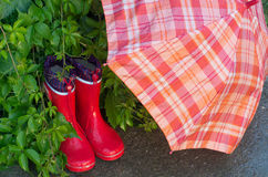 Gumboots and umbrella. Red girlish gumboots and open umbrella drying in garden Royalty Free Stock Image