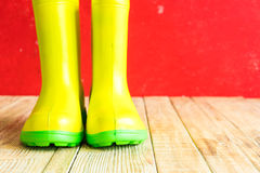 Gumboots on wooden old background. Wall Stock Photo