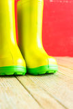 Gumboots on wooden old background. Wall Royalty Free Stock Image