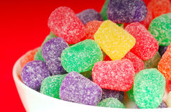 Gumdrops in a white bowl Stock Photography